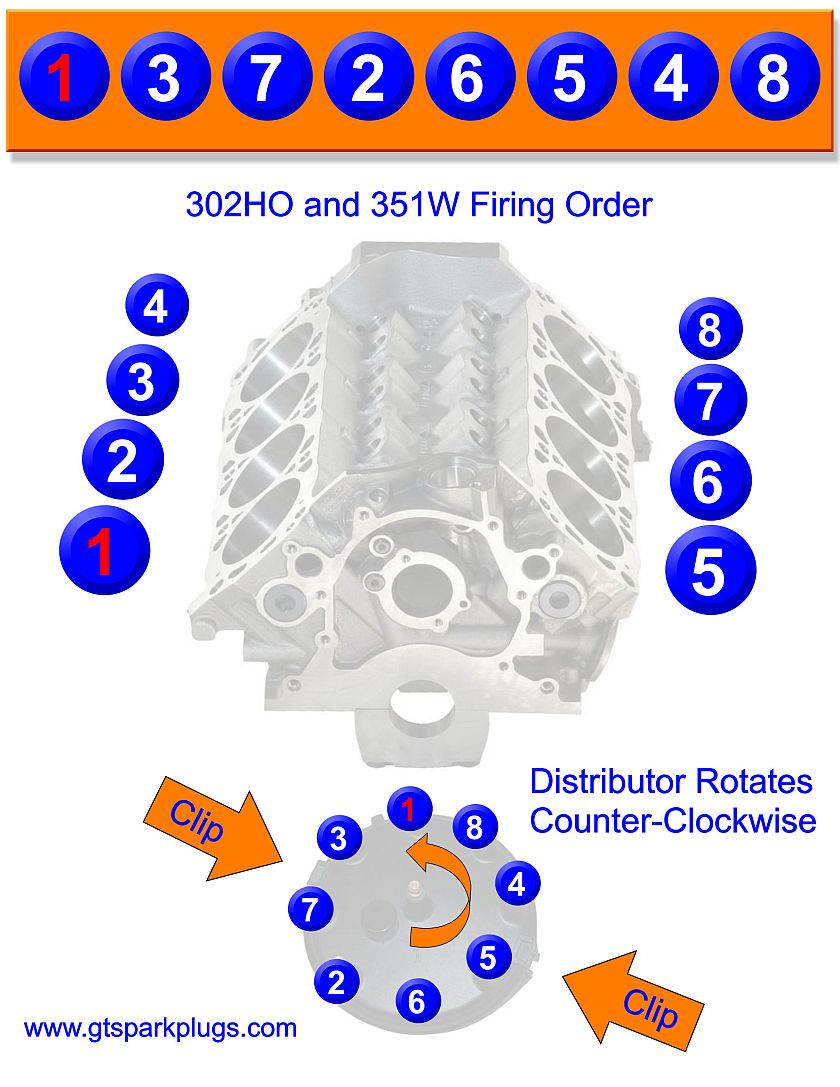 Ford 5 0L 302 HO and 351W Firing Order GTSparkplugs